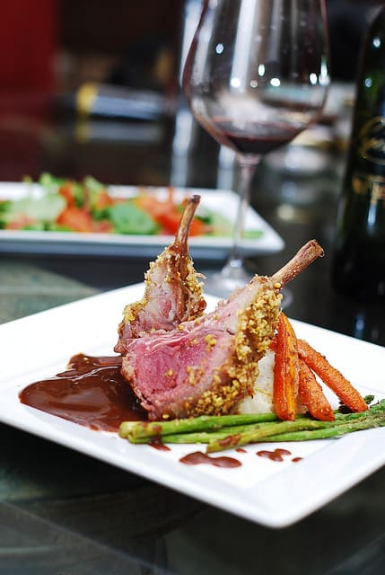 Rack of Lamb, with carrots and asparagus