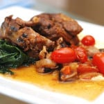 Lamb Shoulder Chops with Shiitake Mushrooms, Swiss Chard and Mascarpone Cheese Polenta