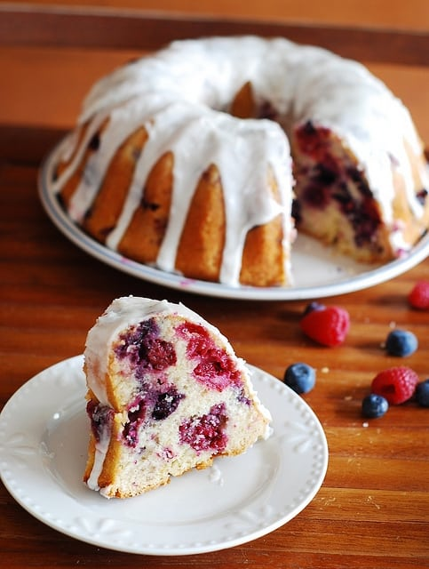 Triple berry bundt cake with blueberry, raspberry, blackberry