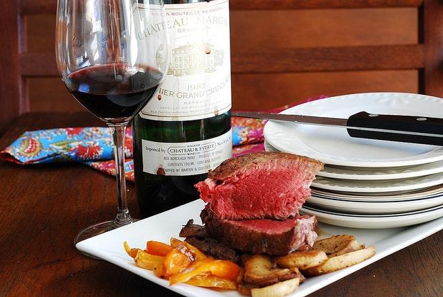 Filet mignon steak with mushroom red wine cream sauce