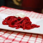 Beet and goat cheese fettuccine pasta