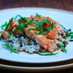 Salmon fillet with Sake sauce and wild rice