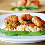 Spicy curry shrimp pasta: curried tomato sauce, snap peas, orzo rice