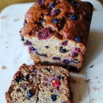 Strawberry banana bread with blueberries