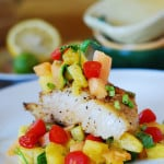 White fish with salsa: black cod with tropical fruit