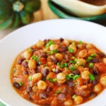 Pumpkin chili with black beans and garbanzo beans | JuliasAlbum.com