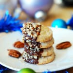 Chocolate dipped pecan shortbread cookies - Christmas, Holiday cookies