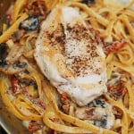 Pasta with chicken, mushrooms, sun-dried tomatoes in a creamy garlic and basil sauce