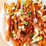Spiced up sweet potato fries (baked) + bacon