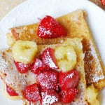 Crepes with strawberries, bananas, and peanut butter