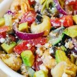 Greek Tortellini Salad: Tomatoes, Avocados, Cucumbers