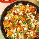Quinoa with Roasted Butternut Squash, Pine Nuts, Feta