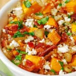 Quinoa Salad with Bacon and Roasted Butternut Squash, Carmelized Onions, Feta Cheese