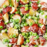 Creamy Parmesan Garlic Potatoes and Peas