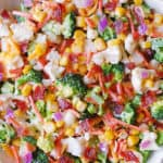 Creamy Broccoli, Cauliflower, Corn, Bacon Salad