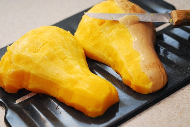 peeling butternut squash with the knife
