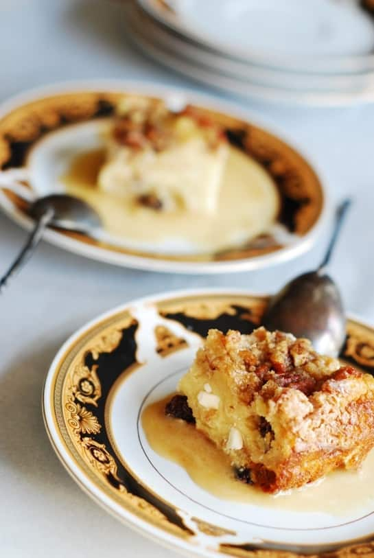 Bread pudding with cream sauce, white chocolate, creme de cacao