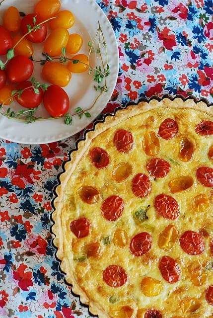 Egg and Cheese Breakfast Tart with Grape tomatoes, Gruyere cheese, leeks, thyme recipe