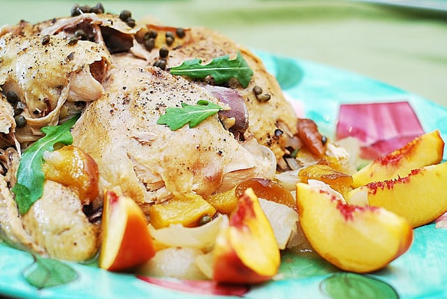 slow cooker chicken with rice, capers, peaches