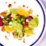 Arugula Salad with Beets, Brown Sugar Pecans, and Gorgonzola cheese