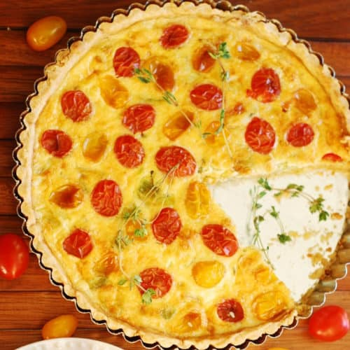Breakfast Egg and Gruyere Cheese Quiche Tart with Tomatoes