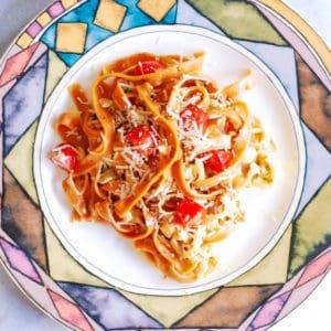 Lobster Pasta in Creamy White Wine Parmesan Tarragon Sauce