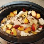 slow cooker whole chicken with peaches and capers