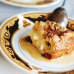 white chocolate bread pudding with whiskey sauce