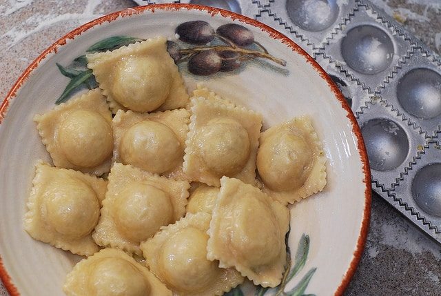 cooked and boiled spinach ravioli