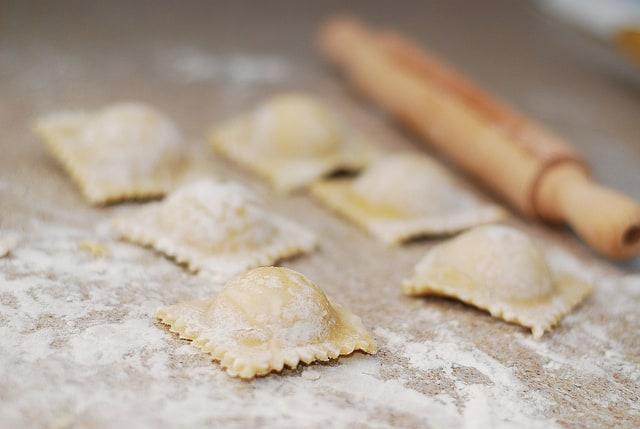 ravioli made with the ravioli mold