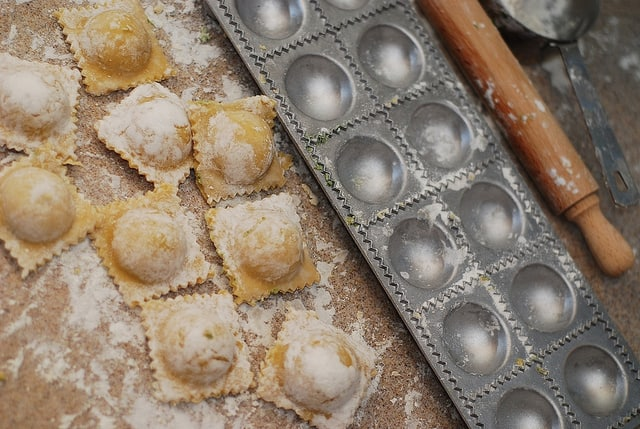 ravioli mold with the rolling pin and homemade ravioli