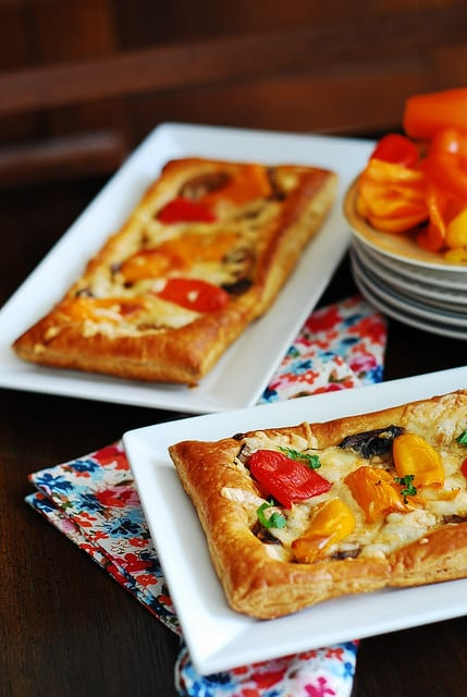 puff pastry pizza with mushrooms, bell peppers, cheese