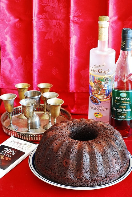 chocolate bundt cake recipe with filling, cognac soaked cherries