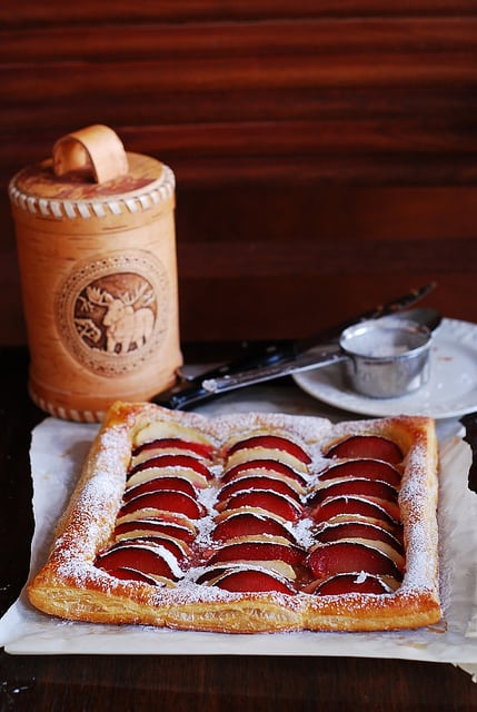 plum and apple tart, pie, puff pastry