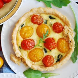 Mini Tart Shells with Eggs, Gouda Cheese, Spinach, Grape Tomatoes