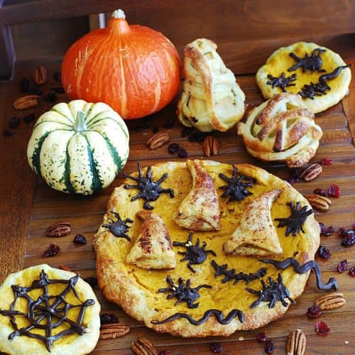 Pumpkin Puff Pastry Tart with Apple-Cranberry Stuffed Crust