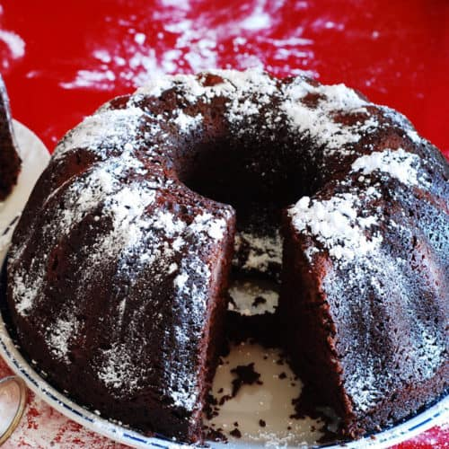 chocolate bundt cake with cognac soaked sour cherries