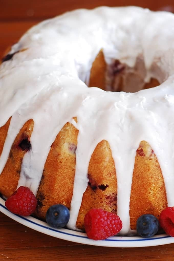 mixed berry bundt cake with blueberries, raspberries, blackberries