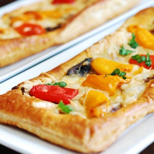 puff pastry pizza with mushrooms and bell peppers