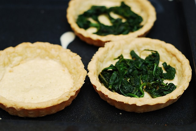 tart shells with spinach