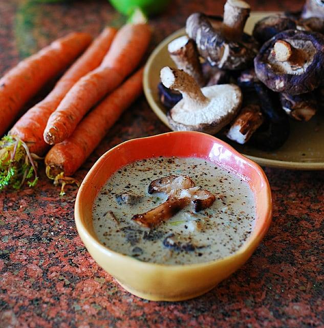 creamy wild mushroom soup with shiitake