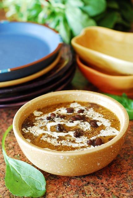 Black bean butternut squash soup, pumpkin soup, Christmas