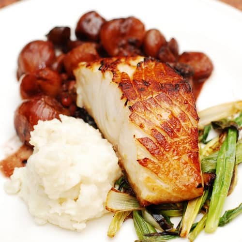 Black cod with balsamic shallot and pomegranate sauce
