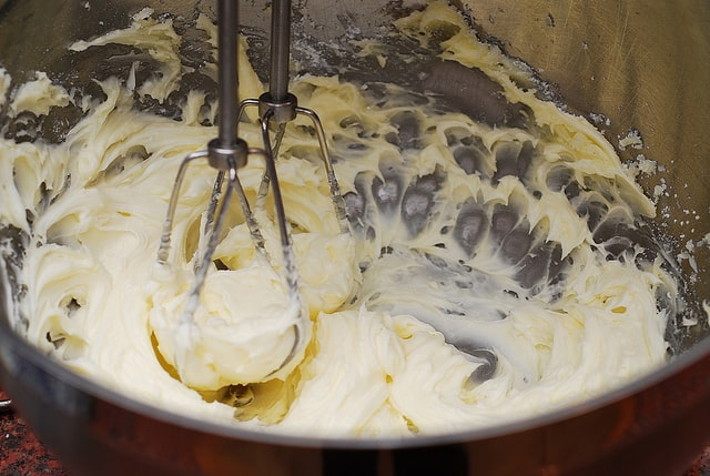 Beating sugar with butter