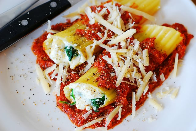 "Image result for spinach and ""ricotta"" stuffed pasta with marinara sauce"