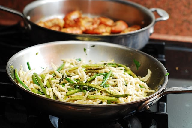 cooking pasta and asparagus