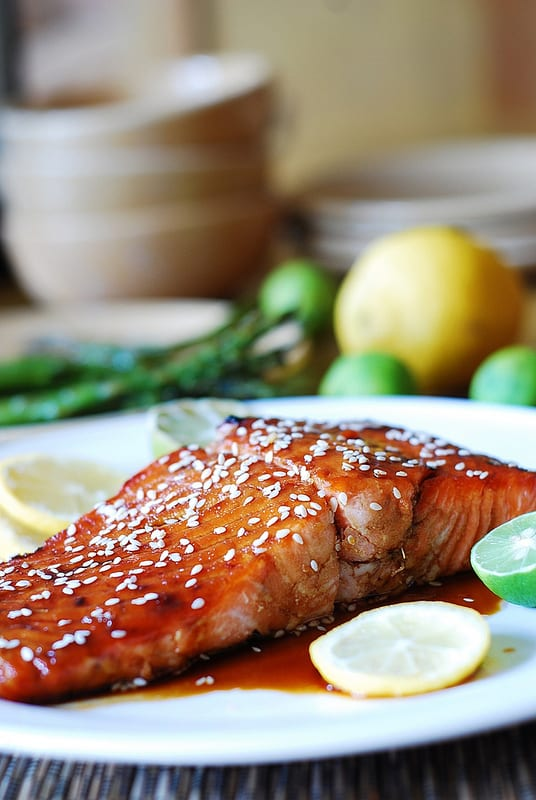Asian sesame salmon, seafood, fish