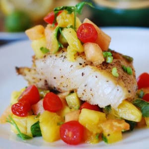 pan-seared black cod with tropical fruit salsa
