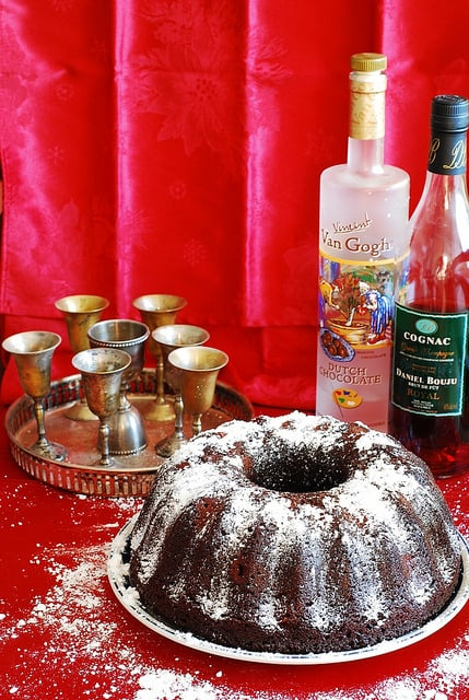 Dark Chocolate Bundt Cake with Cognac-Soaked Sour Cherries