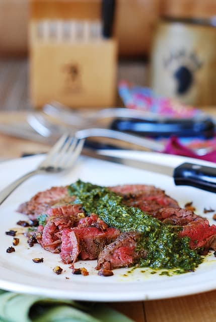Pan-Seared Flank Steak with Chimichurri Sauce